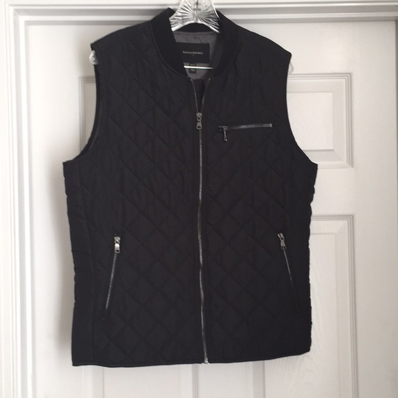 Banana Republic Jackets Coats Mens Diamond Quilted Black Vest